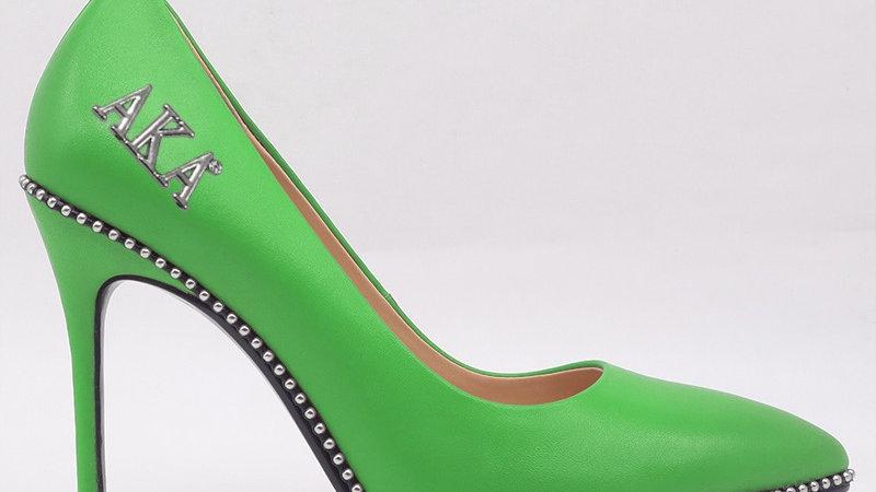 AKA Green Genuine Leather heels