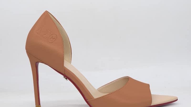 ΔΣΘ Cappuccino Genuine Leather Heels