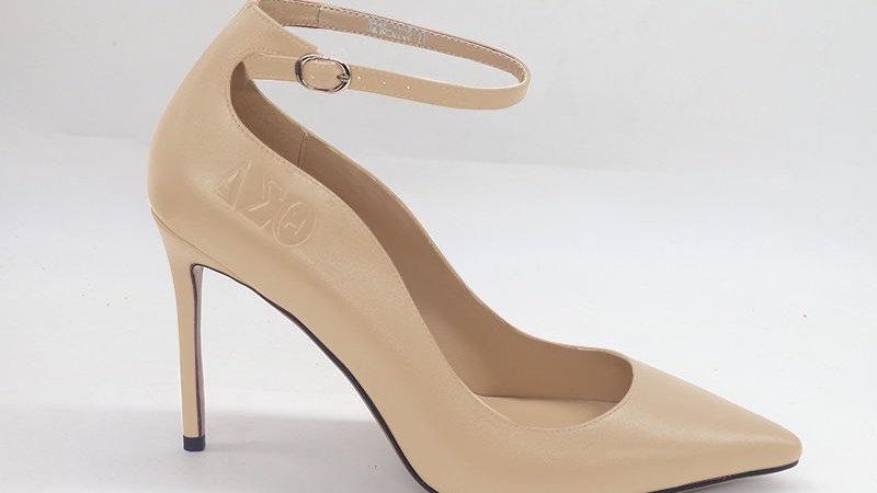 Light Beige ΔΣΘ Genuine Leather debossed strap heels