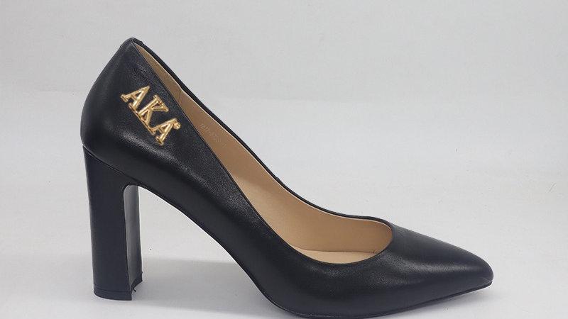 AKA Black Genuine Leather Block 4in heels with gold buckle