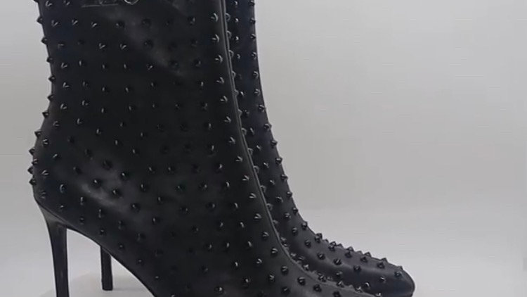 ΔΣΘ Black Genuine Leather Spiked 4in Boots w/silver embedded buckle