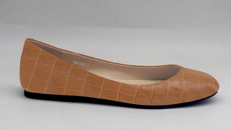 Cappuccino Croco Pattern Genuine Leather Flats