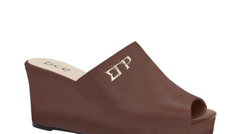 ΣΓΡ Mocha Genuine Leather Wedges with gold embedde buckle