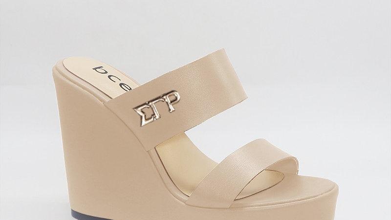 ΣΓΡ Beige Genuine Leather Wedges with gold embedded buckle