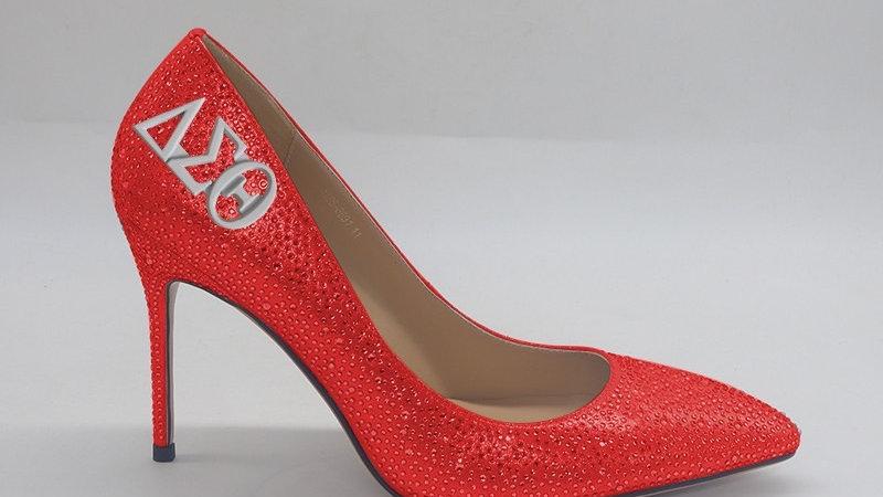 Rhinestone Heels with ΔΣΘ embedded buckle