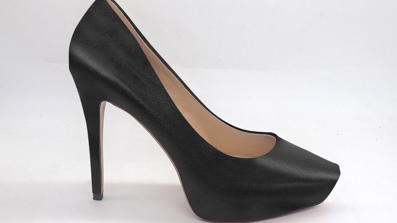 Black Genuine Leather Platform 4in Heels