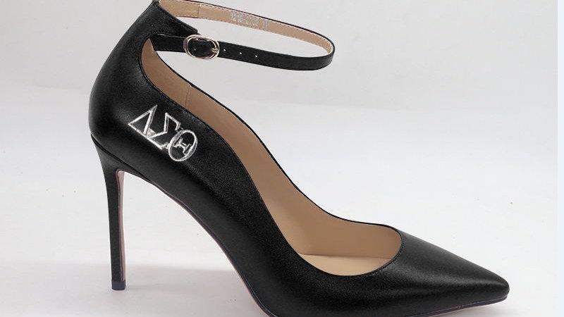 ΔΣΘ Black Genuine Leather strap heel with silver buckle