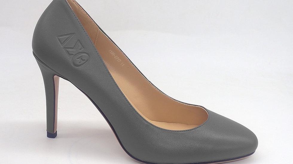 Dark Gray ΔΣΘ Genuine Leather Debossed heels