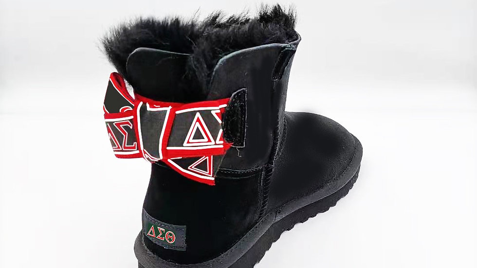 ΔΣΘ Black Short Sheep Wool Boots w/1 Ribbon SHIPS IN 45 DAYS