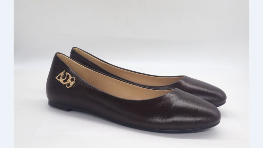 Mocha Croco Pattern Genuine Leather Flats with Gold ΔΣΘ buckle
