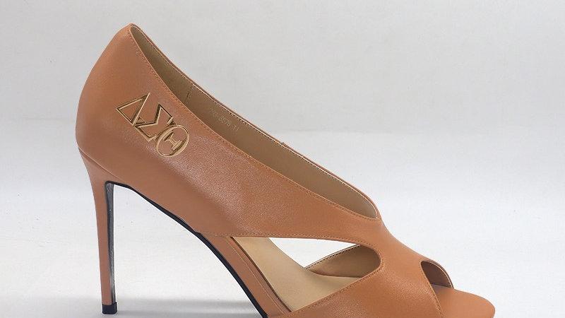 ΔΣΘ  Cappuccino  Genuine Leather 4in heels