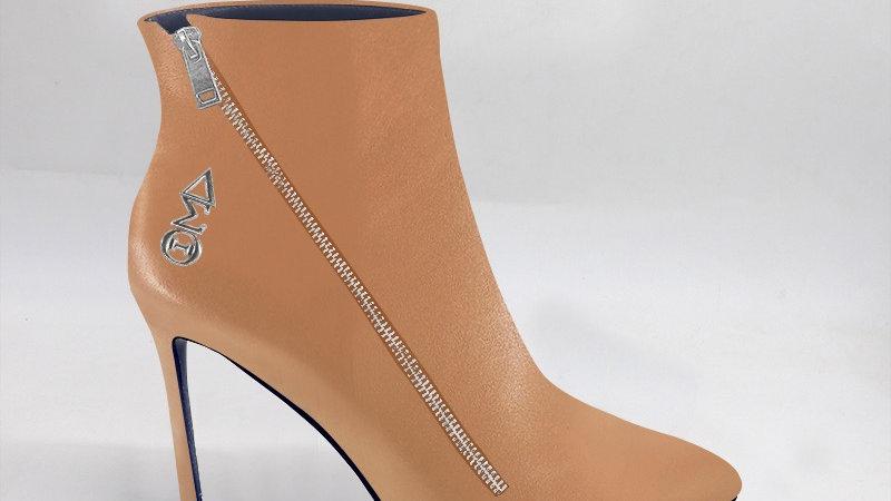 ΔΣΘ Cappuccino Genuine Leather 4in Boots w/ silver embedded buckle