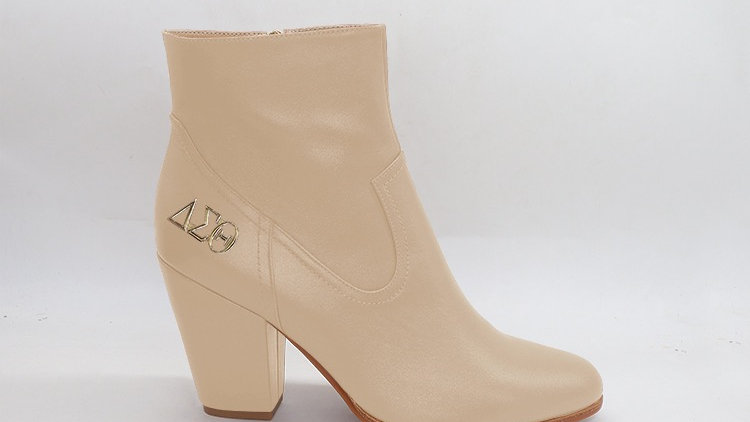 ΔΣΘ Beige Genuine Leather Boots with gold buckle