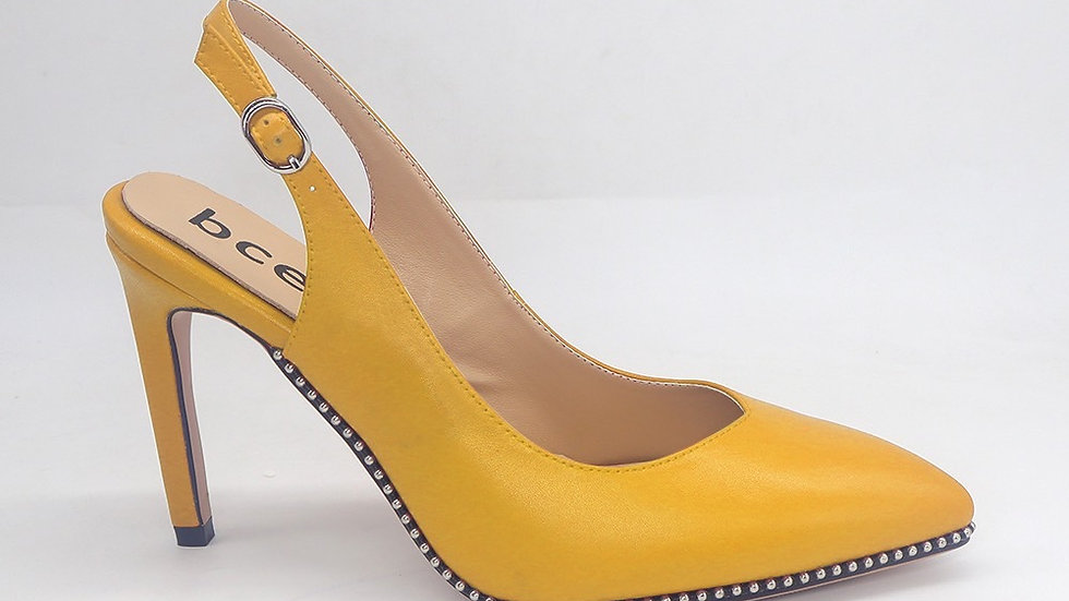 Yellow Slingback genuine leather heels