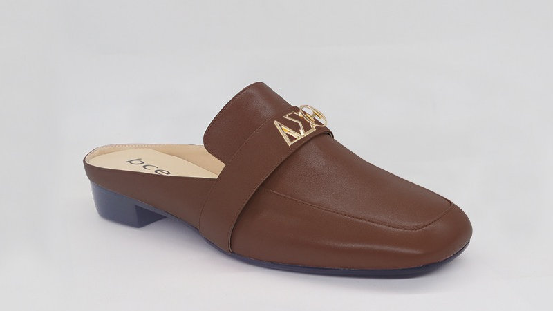 ΔΣΘ Mocha Genuine Leather Flats with gold embedded buckle