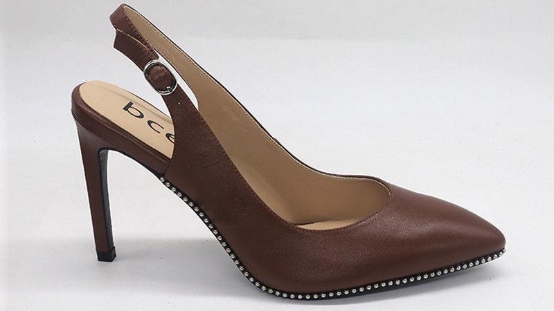 Mocha Slingback Genuine Leather Heels with gold buckle