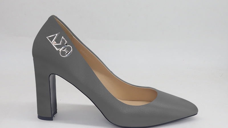 Dark Gray ΔΣΘ Genuine Leather Block 4in heels with gold buckle
