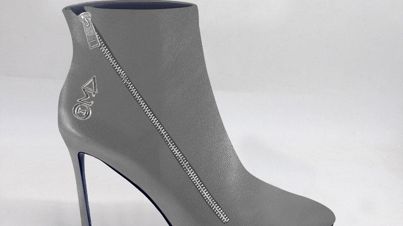 ΔΣΘ Gray Genuine Leather 4in Boots w/ silver embedded buckle