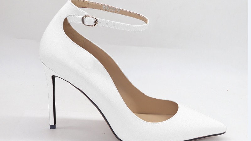 White Genuine Leather strap 4in heels