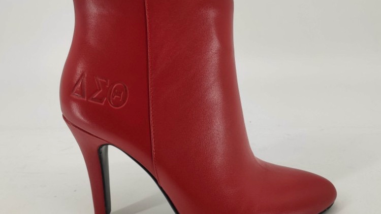 Genuine leather ΔΣΘ debossed boots