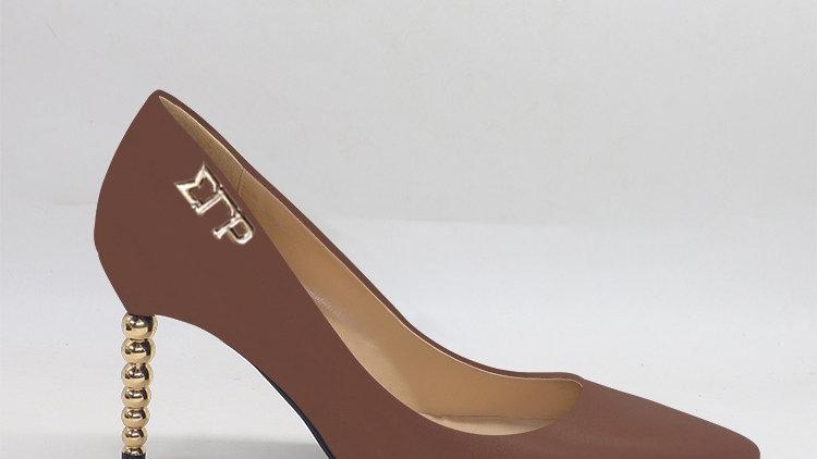 ΣΓΡ Mocha Genuine leather heels with gold  buckle