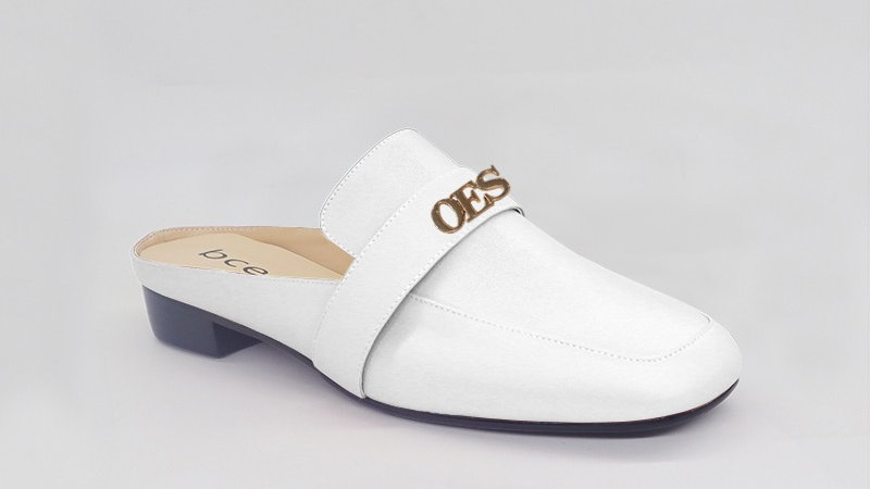 OES White Genuine Leather flats