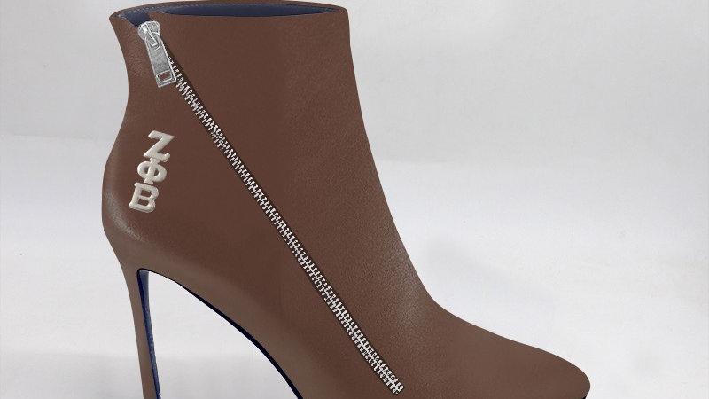 ΖΦΒ Mocha Genuine Leather 4in Boots w/ silver embedded buckle