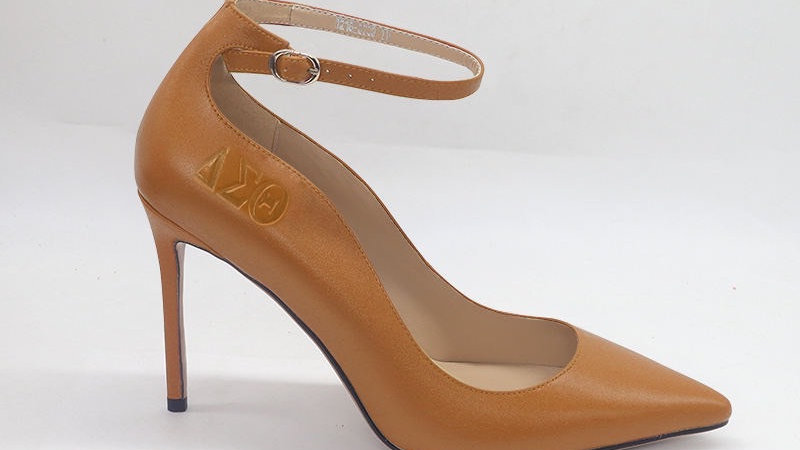 Cappuccino ΔΣΘ Genuine Leather debossed strap heels