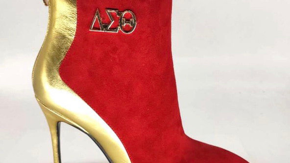 Red Suede/Gold Metallic Leather Boots with Gold buckle