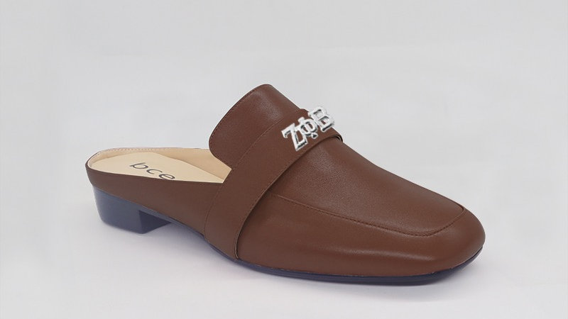 ΖΦΒ Mocha Genuine Leather Flats with silver embedded buckle