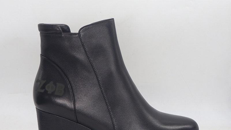 ΖΦΒ Genuine leather wedge boots