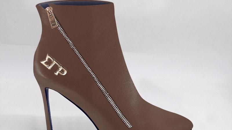 ΣΓΡ Mocha Genuine Leather 4in Boots w/ gold embedded buckle
