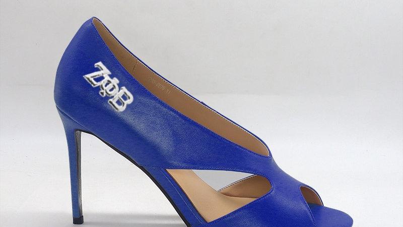 ΖΦB Blue  Genuine leather 4 in heels silver embedded buckle