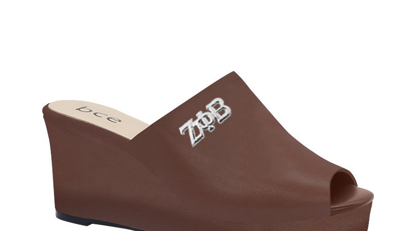 ΖΦΒ  Mocha Genuine Leather Wedges with silver embedde buckle