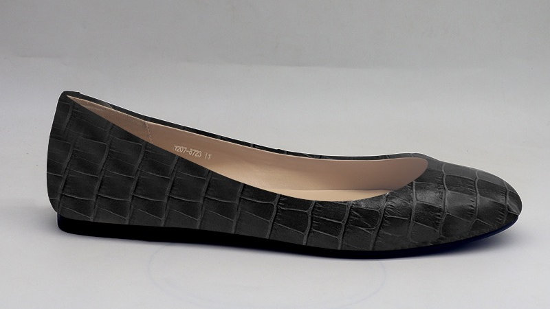 Black Croco Pattern Genuine Leather Flats