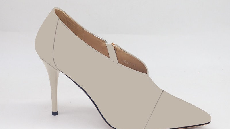 Light Gray Genuine Leather and Faux Snake Skin Heels
