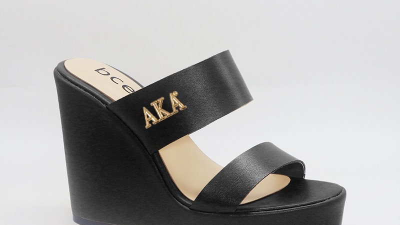 AKA Black Genuine Leather Wedges with gold embedded buckle