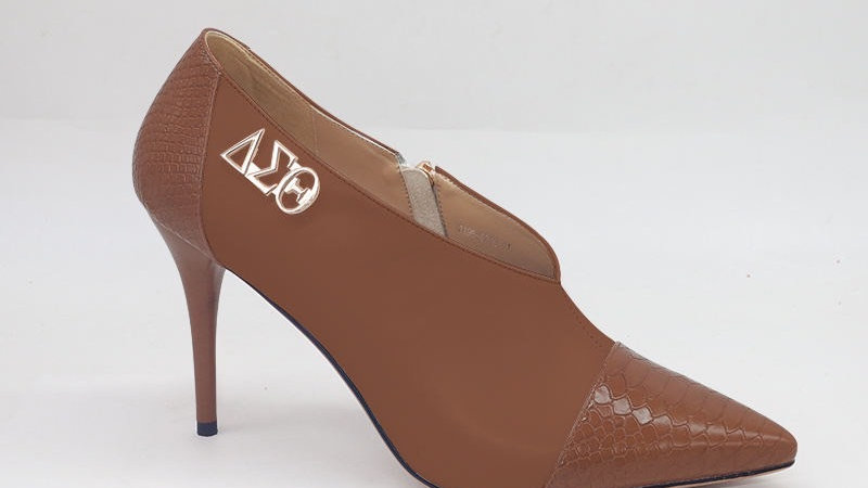Mocha Genuine Leather and Faux Snake Skin Heels