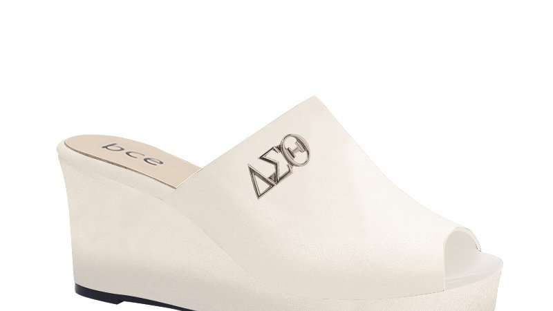 ΔΣΘ Cream Genuine Leather Wedges with silver embedde buckle