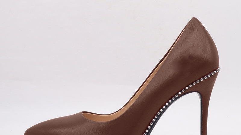 Mocha Genuine Leather debossed heels