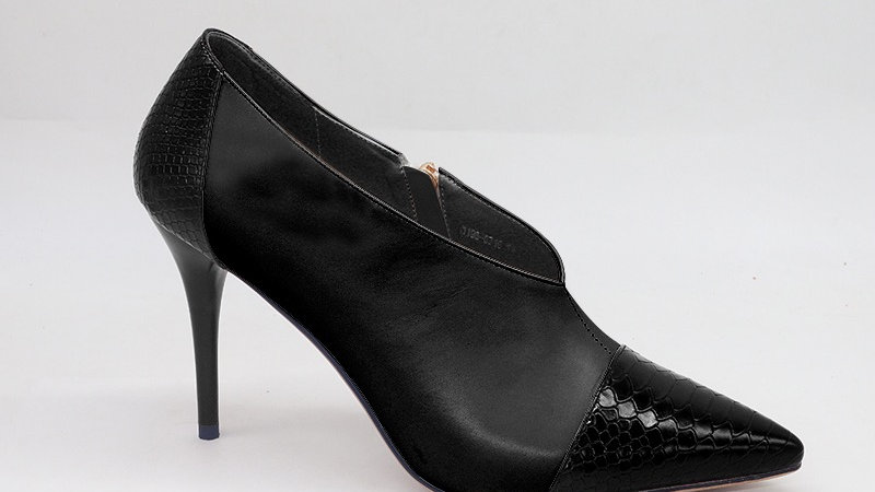 Black Genuine Leather and Faux Snake Skin Heels