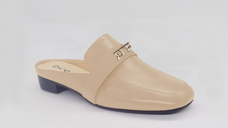 ΣΓΡ Beige Genuine Leather Flats with gold embedde buckle