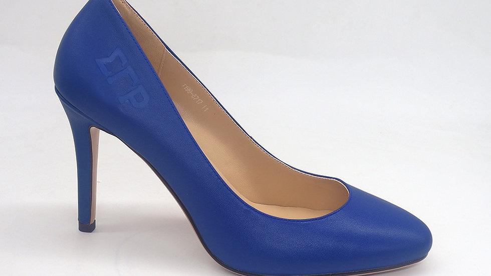 ΣΓΡ Blue Genuine Leather Round Toe Debossed heels