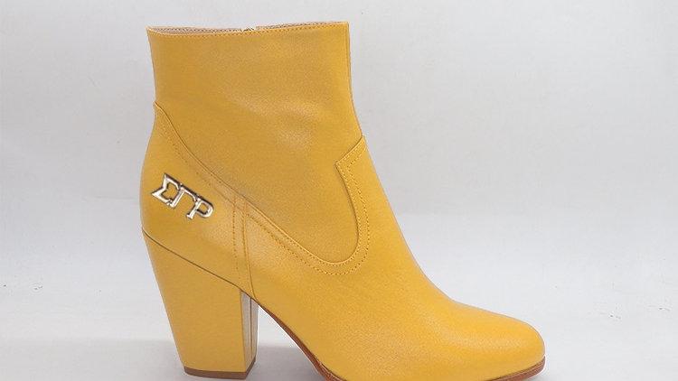 ΣΓΡ Yellow Genuine Leather Boots with gold buckle