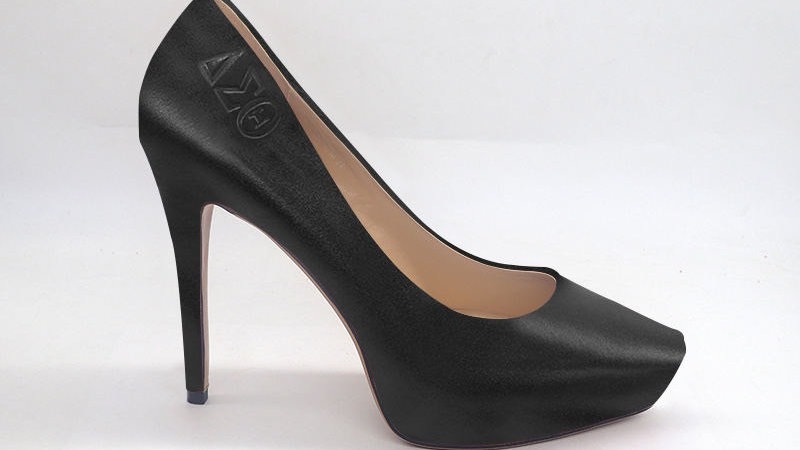 ΔΣΘ Black Genuine Leather Platform Debossed heels