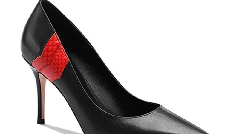 Black Genuine Leather/Red Faux Snake skin heels