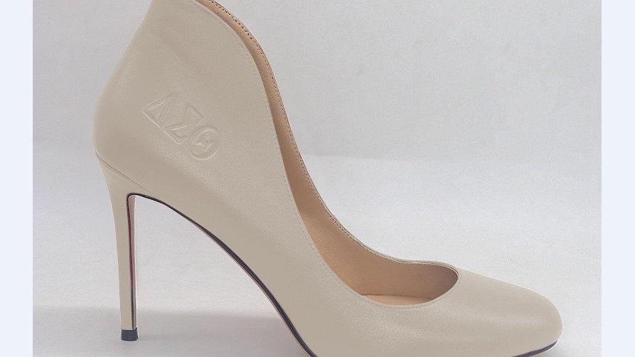 Light Gray Genuine Leather ΔΣΘ debossed 4in heels