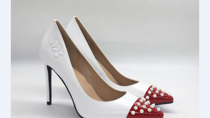 White/Red ΔΣΘ Debossed Genuine leather pumps with white spikes