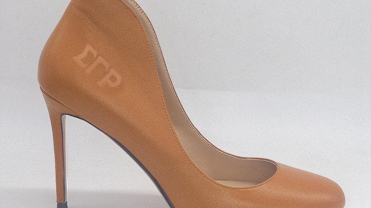 ΣΓΡ  Cappuccino Genuine Leather debossed heels