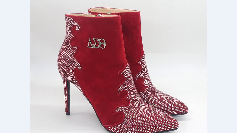 ΔΣΘ Red Genuine Suede Leather 4in Boots with rhinestones